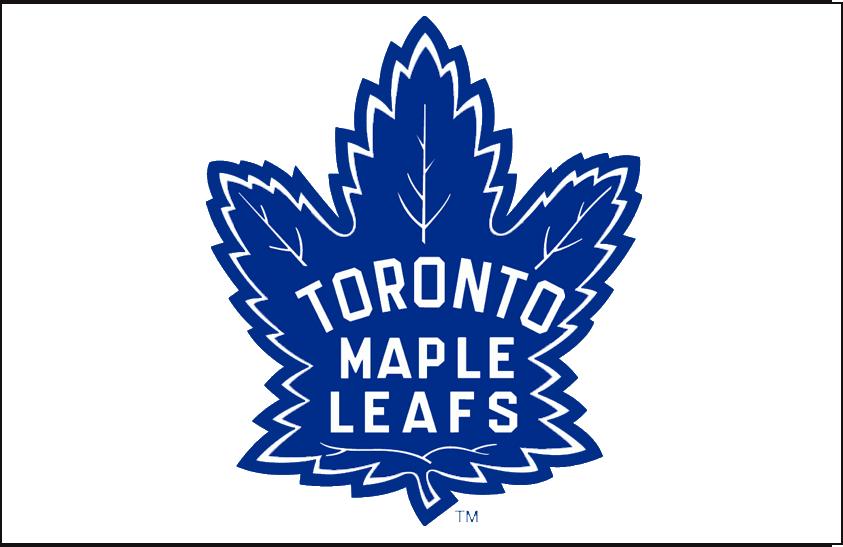 Toronto Maple Leafs Logo Jersey Logo (1963/64-1966/67) - Blue maple leaf on white, worn on Toronto Maple Leafs road white jersey from 1963-64 through the end of the 1966-67 regular season.  SportsLogos.Net