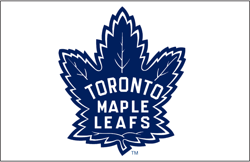 Toronto Maple Leafs Logo Jersey Logo (2008/09-2010/11) - Throwback maple leaf design in blue on white, worn on the Toronto Maple Leafs alternate white jersey from 2000-01 until 2006-07, returned after a one-season removal for 2008-09 and worn until 2010-11 SportsLogos.Net
