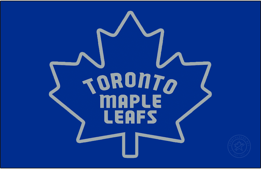 Toronto Maple Leafs Logo Jersey Logo (2020/21-Pres) - The Toronto Maple Leafs Reverse Retro logo, a throwback to the 1970 season with the Leafs logo originally worn from 1967-70 recoloured in blue and silver. Logo shows the Canadian flag style leaf in blue with the team name across it in silver and trimmed in silver. Worn on a blue jersey. SportsLogos.Net