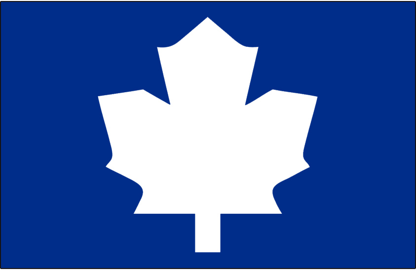Toronto Maple Leafs Logo Alt on Dark Logo (1982/83-1986/87) - Blank white leaf on blue, worn on the shoulder of the Toronto Maple Leafs home jersey from 1982-83 through 1986-87, shade of blue is darkened for 1988 SportsLogos.Net