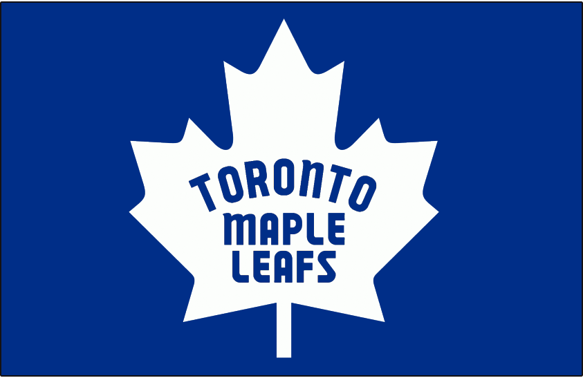 Toronto Maple Leafs Logo Jersey Logo (1966/67-1969/70) - White 11-point Canada leaf with the team name inside in blue on blue, worn on Toronto Maple Leafs home blue uniform beginning with the 1967 Stanley Cup playoffs until the end of the 1969-70 season. SportsLogos.Net