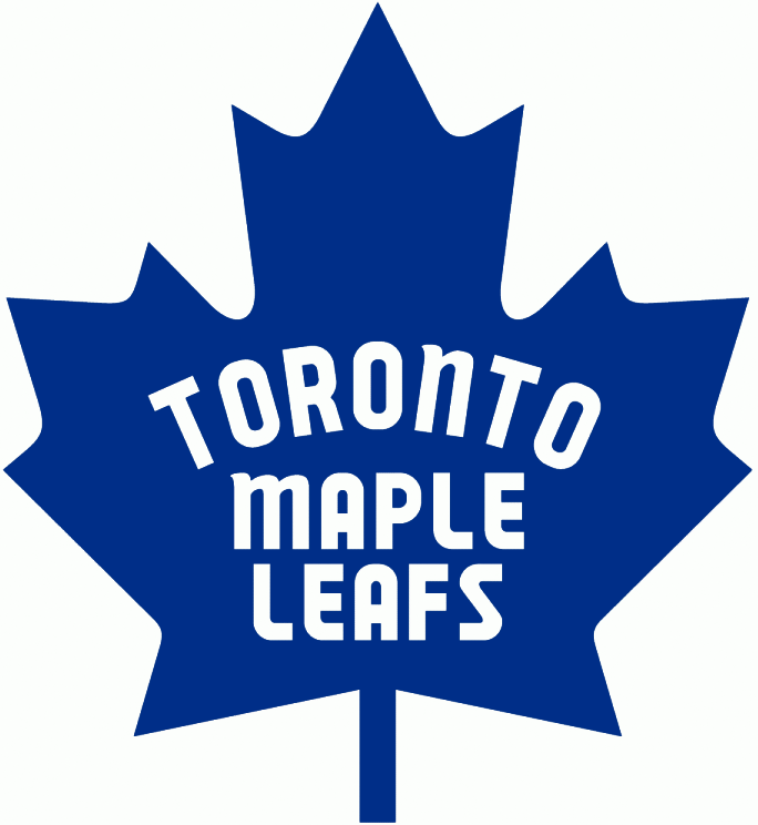Toronto Maple Leafs Logo Primary Logo (1967/68-1969/70) - Blue 11-point Canada leaf with the team name inside in white, first adopted on team jerseys during the 1967 Stanley Cup playoffs SportsLogos.Net
