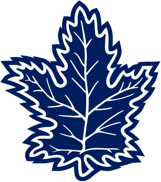 Toronto Maple Leafs Logo Alternate Logo (1992/93-1999/00) - A blue maple leaf with white details, was worn as the shoulder patch on the team's white home jersey from 1993-2000. SportsLogos.Net
