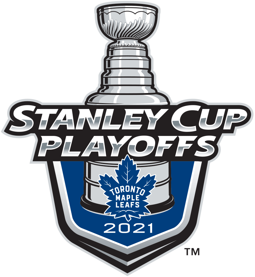 Toronto Maple Leafs Logo Event Logo (2020/21) - The Toronto Maple Leafs 2021 Stanley Cup Playoffs logo features the Leafs blue leaf logo on a blue shield with STANLEY CUP PLAYOFFS written above in silver and 2021 below in white. A depiction of the top-half of the Stanley Cup can be seen above the shield. This logo is used by the Toronto Maple Leafs on various materials throughout their participation in the 2021 NHL Stanley Cup Playoffs. SportsLogos.Net