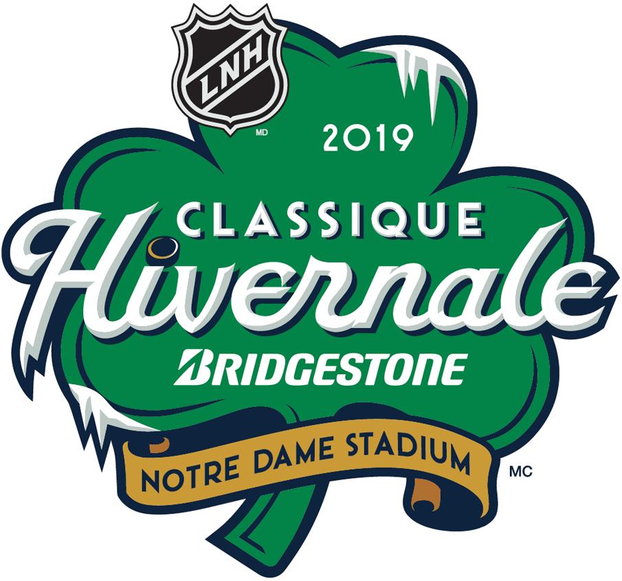 NHL Winter Classic Logo Alt. Language Logo (2018/19) - 2019 NHL Winter Classic Logo at Notre Dame in French - logo pour le LNH Classique Hivernale 2019 joué à Notre Dame - version français SportsLogos.Net