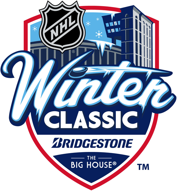NHL Winter Classic Logo Unused Logo (2012/13) - proposed 2013 Bridgestone NHL Winter Classic logo for the outdoor game featuring the Detroit Red Wings  VS Toronto Maple Leafs at the Big House (Michigan Stadium) in  Ann Arbor, Michigan on January 1st, 2013. The event was canceled on Friday November 2, 2012. SportsLogos.Net