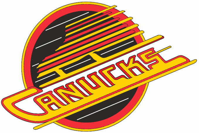 Vancouver Canucks Logo Primary Logo (1992/93-1996/97) - the orange becomes red, and the gold becomes more of a bright yellow starting in the 1992-93 season. SportsLogos.Net