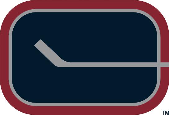 Vancouver Canucks Logo Alternate Logo (2003/04-2006/07) - A silver hockey stick in a navy oval representing a letter C SportsLogos.Net