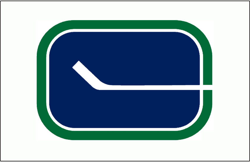 Vancouver Canucks Logo Jersey Logo (1970/71-1977/78) - Blue and green hockey stick C logo on white jersey, worn on home Canucks jersey from 1971 to 1978 SportsLogos.Net