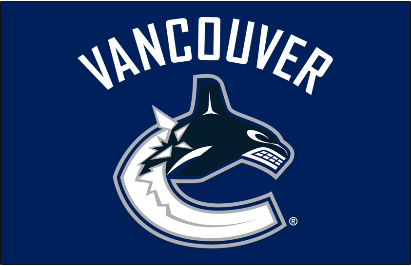 Vancouver Canucks Logo Primary Dark Logo (2007/08-2018/19) - Vancouver Canucks primary logo on light blue SportsLogos.Net