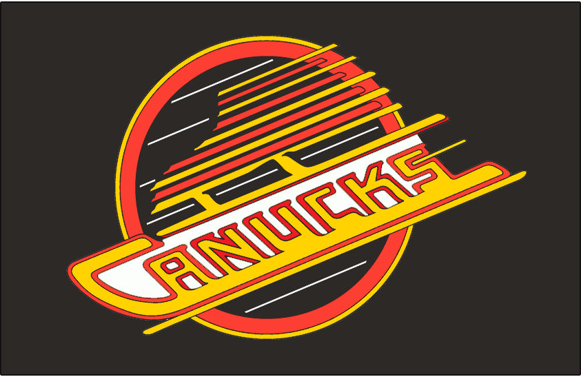 Vancouver Canucks Logo Jersey Logo (1989/90-1991/92) - Canucks primary skate logo with white behind lettering. Worn on Canucks road black jersey from 1990 to 1992. In 1993 the shade of red used logo was adjusted slightly. SportsLogos.Net