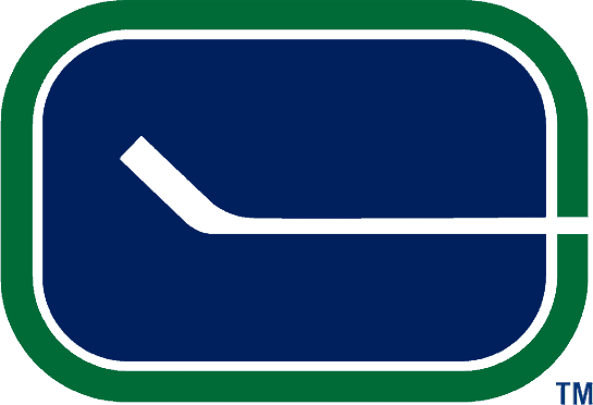 Vancouver Canucks Logo Primary Logo (1970/71-1977/78) - A blue oval with a white hockey stick inside forming a C SportsLogos.Net