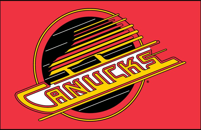 Vancouver Canucks Logo Primary Dark Logo (1992/93-1996/97) - Vancouver Canucks primary flying skate logo on red SportsLogos.Net