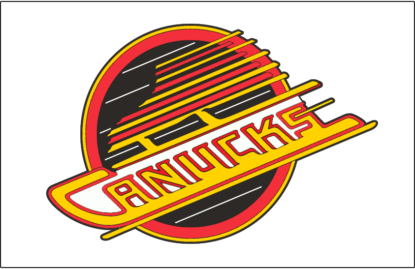 Vancouver Canucks Logo Jersey Logo (1992/93-1996/97) - Canucks primary skate logo. Worn on Canucks home white jersey from 1993 to 1997. The shade of red used in this logo is slightly different from the one used from 1989 to 1992 SportsLogos.Net
