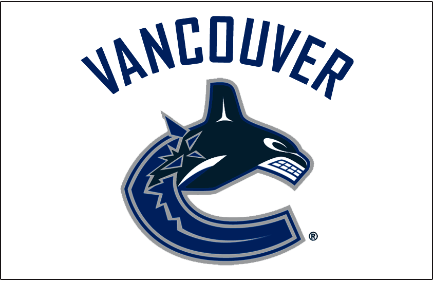 Vancouver Canucks Logo Jersey Logo (2007/08-2018/19) - Canucks primary whale logo below VANCOUVER arched above in blue. Worn on Vancouver Canucks road white jersey starting in 2006-07 SportsLogos.Net