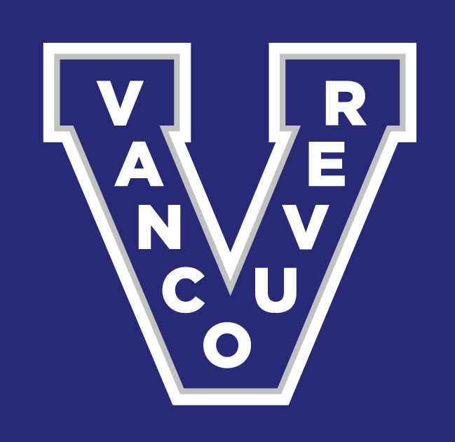 Vancouver Canucks Logo Throwback Logo (2012/13) - A re-colored Vancouver Millionaires logo - a blue V with Vancouver on it and a thin silver inner outline and a thick white outline. SportsLogos.Net