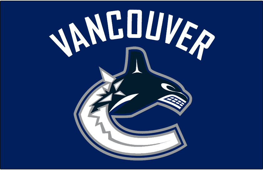 Vancouver Canucks Logo Jersey Logo (2007/08-2018/19) - Canucks primary whale logo below VANCOUVER arched above in white. Worn on Vancouver Canucks home blue jersey starting in 2006-07 SportsLogos.Net