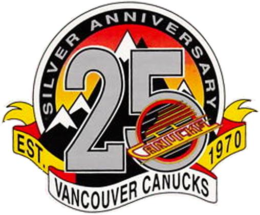 Vancouver Canucks Logo Anniversary Logo (1994/95) - Vancouver Canucks 25th Anniversary Logo SportsLogos.Net