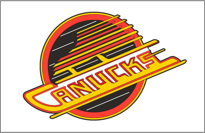 Vancouver Canucks Logo Jersey Logo (1989/90-1991/92) - Canucks primary skate logo. Worn on Canucks white home jersey from 1990 to 1992. In 1993 the shade of red used logo was adjusted slightly. SportsLogos.Net