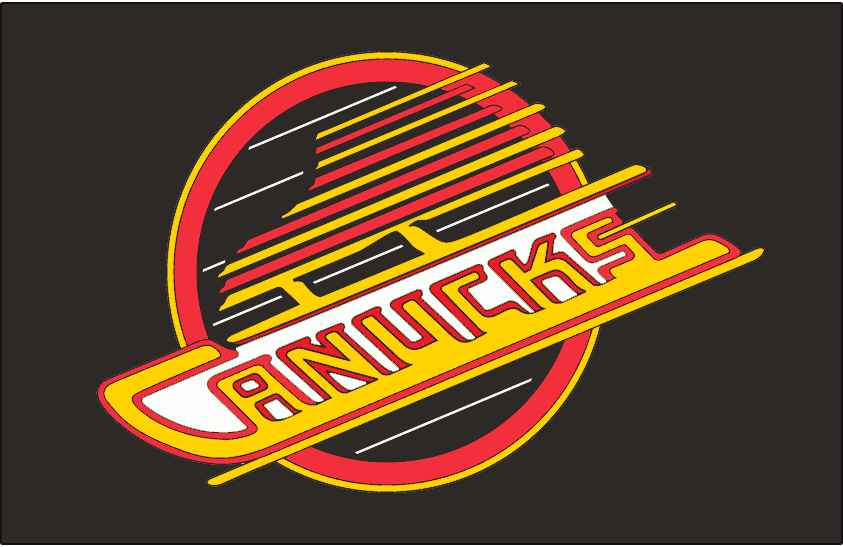 Vancouver Canucks Logo Jersey Logo (1992/93-1996/97) - Canucks primary skate logo with white behind lettering. Worn on Canucks road black jersey from 1993 to 1997. The shade of red used in this logo is slightly different from the one used from 1989 to 1992 SportsLogos.Net
