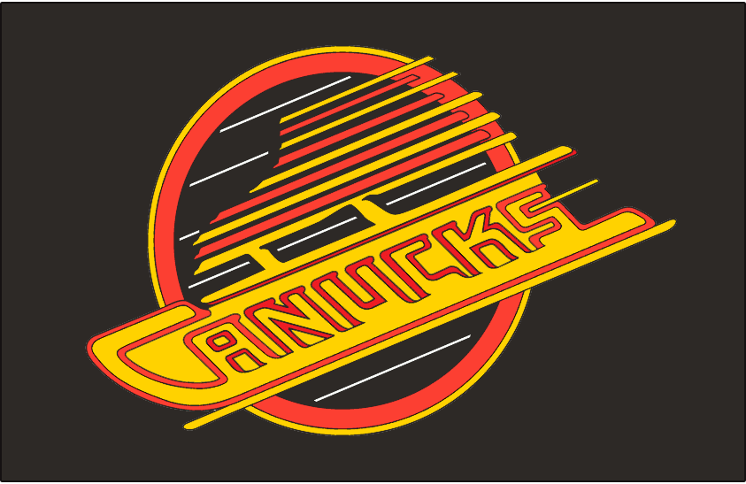 Vancouver Canucks Logo Jersey Logo (1985/86-1988/89) - Canucks primary skate logo with yellow background behind lettering. Worn on Canucks road black jersey from 1986 to 1989 SportsLogos.Net