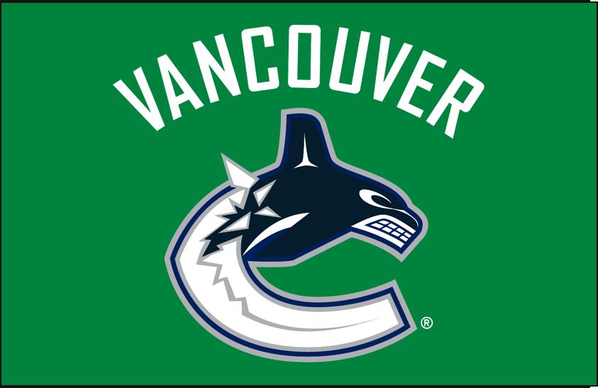 Vancouver Canucks Logo Primary Dark Logo (2007/08-2018/19) - Vancouver Canucks primary logo on green SportsLogos.Net