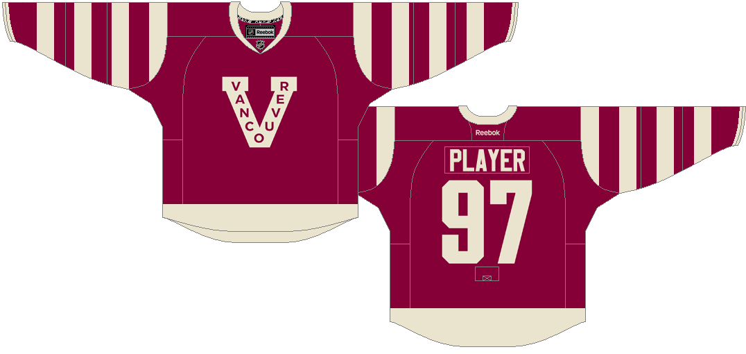 Vancouver Canucks Uniform Special Event Uniform (2012/13-2014/15) - Vancouver Millionaires tribute jersey. Honoring Vancouver's first professional hockey club, the Vancouver Millionaires, who played in the Pacific Coast Hockey League from 1912-1922, the Canucks wore this vintage throwback Millionaires uniforms for the first time against the Detroit Red Wings on March 16th, 2013. Then again VS Senators in the 2014 Heritage Classic, and again in 2015 to mark the 100th anniversary of the Vancouver Millionaires 1915 Stanley Cup win.   SportsLogos.Net