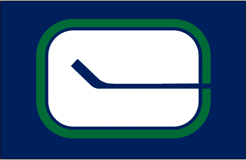 Vancouver Canucks Logo Jersey Logo (1970/71-1977/78) - White, blue, and green hockey stick C logo on blue jersey, worn on road Canucks jersey from 1971 to 1978 SportsLogos.Net