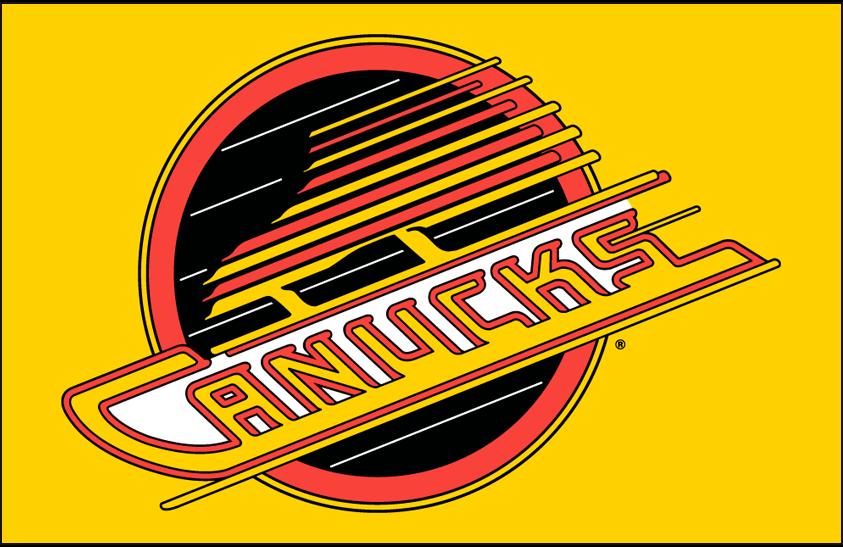 Vancouver Canucks Logo Primary Dark Logo (1978/79-1991/92) - Vancouver Canucks primary flying skate logo on yellow SportsLogos.Net