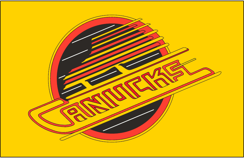 Vancouver Canucks Logo Jersey Logo (1985/86-1988/89) - Canucks primary skate logo. Worn on Canucks yellow home jersey from 1986 to 1989 SportsLogos.Net