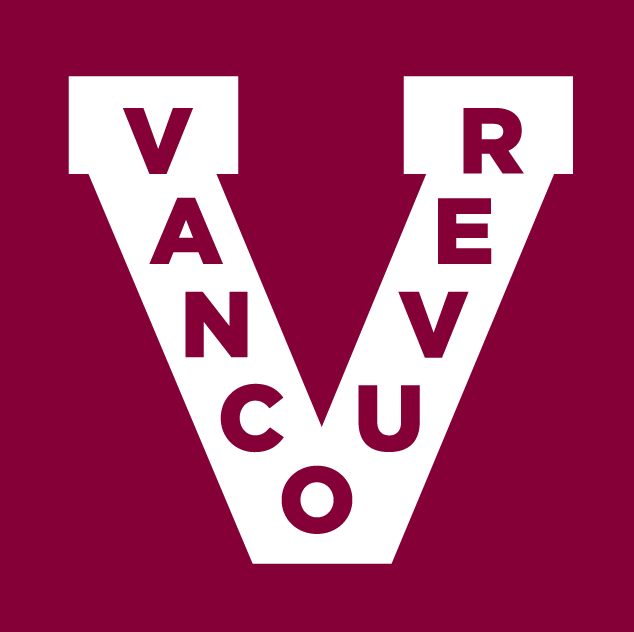 Vancouver Canucks Logo Throwback Logo (2012/13) - A white V with Vancouver in maroon. SportsLogos.Net
