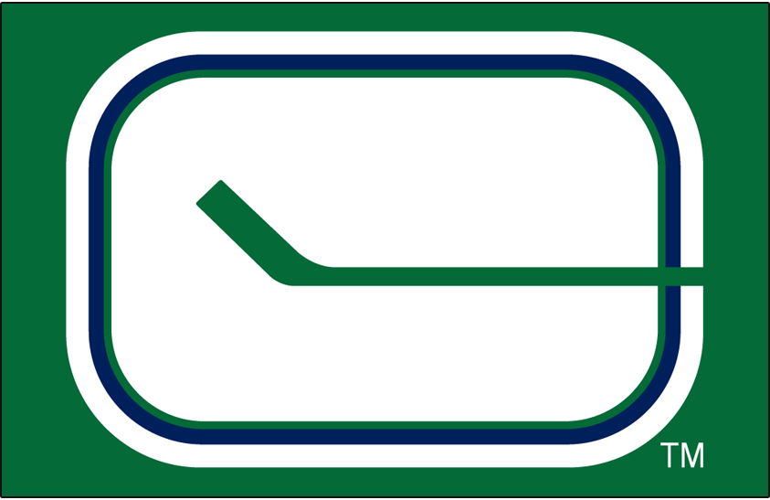 Vancouver Canucks Logo Primary Dark Logo (1970/71-1977/78) - Vancouver Canucks original primary logo on green SportsLogos.Net