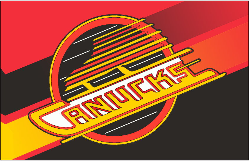 Vancouver Canucks Logo Jersey Logo (1995/96-1996/97) - Canucks primary skate logo on red with black and yellow gradients streaking behind it. Worn on the Vancouver Canucks alternate jersey in 1995-96 and 1996-97 seasons SportsLogos.Net