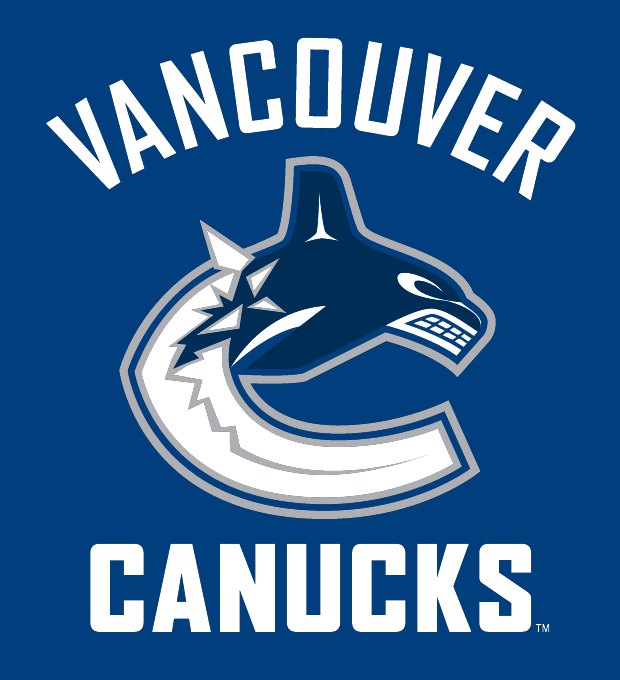 Vancouver Canucks Logo Wordmark Logo (2007/08-2018/19) - Whale jumping out of the ice shaped like a 'C' with team name on blue SportsLogos.Net