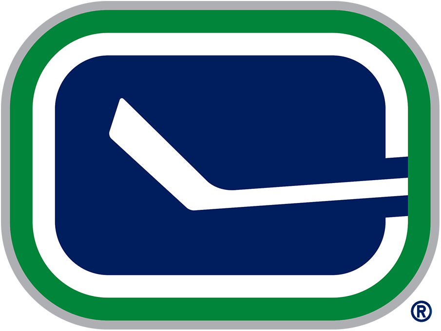 Vancouver Canucks Logo Alternate Logo (2007/08-2018/19) - A blue rectangle with a hockey stick inside, outlined in green and silver SportsLogos.Net