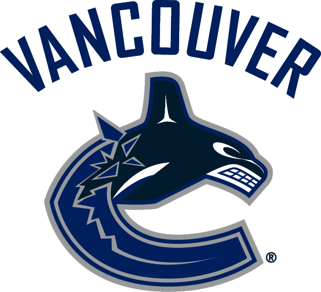 Vancouver Canucks Logo Primary Logo (2007/08-2018/19) - Whale jumping out of the ice shaped like a 'C' with 'Vancouver' above SportsLogos.Net