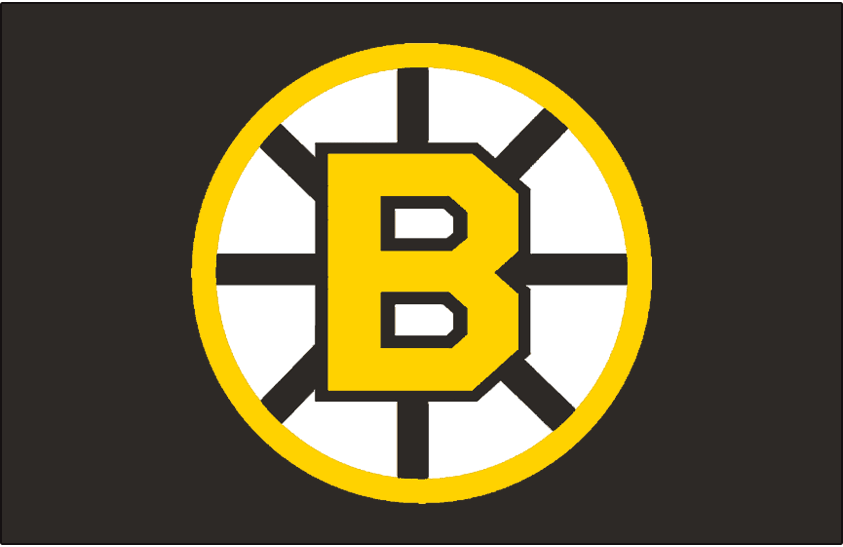 Boston Bruins Logo Jersey Logo (1955/56-1994/95) - Yellow B on a yellow circle with black spokes, originally worn on the Boston Bruins black alternate jersey in 1955-56 to 1956-57 and again from 1959-60 through 1964-65. Beginning in the 1967-68 season this was worn on their black jersey through 1994-95 (Road: 1967-69, Home: 1970-95) SportsLogos.Net