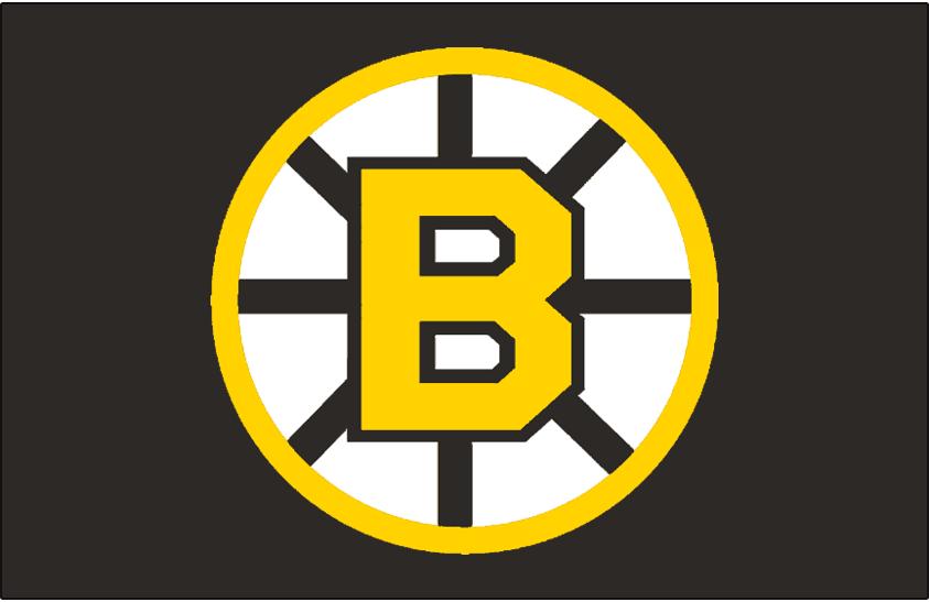 Boston Bruins Logo Jersey Logo (1955/56-1994/95) - Yellow B on a yellow circle with black spokes, originally worn on the Boston Bruins black alternate jersey in 1955-56 to 1956-57 and again from 1959-60 through 1964-65. Beginning in the 1967-68 season this was worn on their black jersey through 1994-95 (Road: 1967-69, Home: 1970-95) SportsLogos.Net