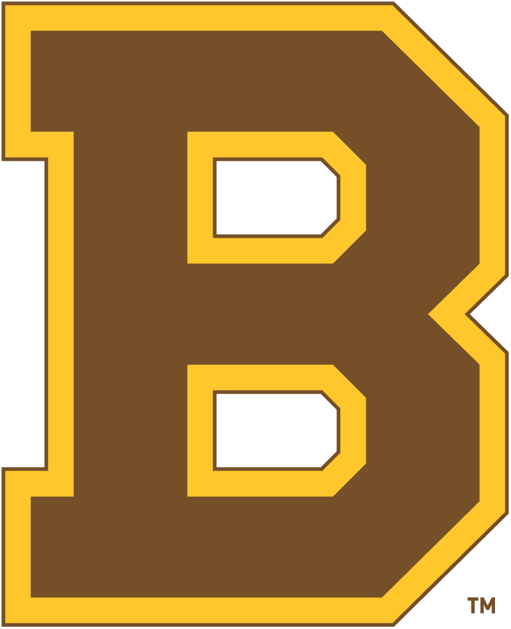 Boston Bruins Logo Primary Logo (1932/33-1933/34) - The first appearance of their block 'B', the Boston Bruins adopted this logo for the 1932-33 season, replacing the brown bear which had been used in various forms since their expansion season. This logo was simply a block, serifed 'B' in brown with alternating gold and brown outlines. The Bruins used this logo with this colour scheme for two seasons, replacing it in 1934 with a switch to their more familiar black and gold colours. SportsLogos.Net