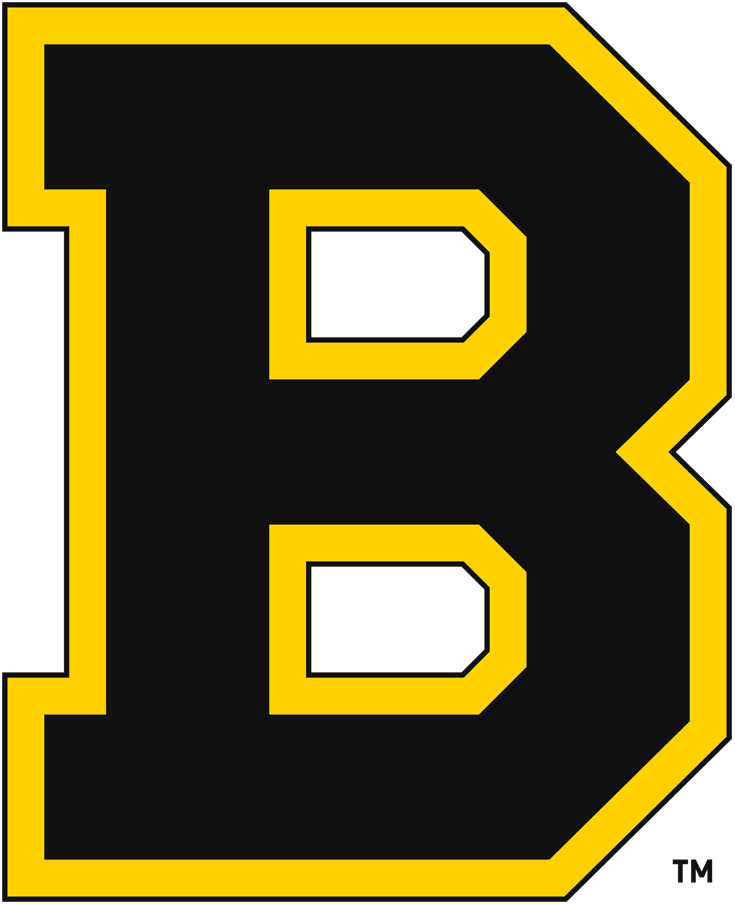 Boston Bruins Logo Primary Logo (1934/35-1948/49) - The Boston Bruins finally made the switch to black and gold in the 1934-35 season after ten seasons using brown as their primary colour. The logo, a block 'B' trimmed in gold, remained the same as prior seasons with a simple swap of colour from brown to black. Boston won two Stanley Cups in their fifteen seasons using this logo, they made the switch to their famous spoked 'B' logo from this design in 1949. SportsLogos.Net