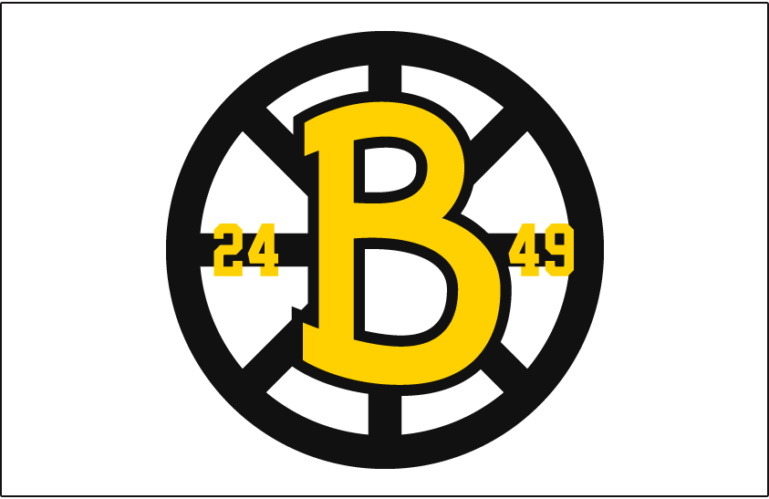 Boston Bruins Logo Jersey Logo (1948/49) - Yellow B in a black circle with spokes, on either side of the B are the years 24 and 49. Worn on the front of the Boston Bruins home jersey for their 25th anniversary season in 1948-49 SportsLogos.Net
