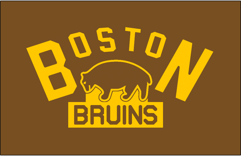 Boston Bruins Logo Jersey Logo (1924/25) - A brown bear below BOSTON arched in yellow, worn on the Boston Bruins jersey during their inaugural 1924-25 season only SportsLogos.Net
