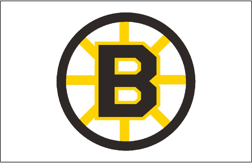 Boston Bruins Logo Jersey Logo (1949/50-1994/95) - Black B on a black circle with yellow spokes, worn on the Boston Bruins white jersey from 1949-50 through 1994-95 SportsLogos.Net