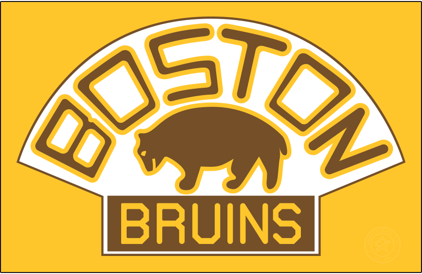 Boston Bruins Logo Primary Dark Logo (1926/27-1931/32) - A slightly updated version of their original logo, the Boston Bruins adopted their second logo in team history, shown here on gold, for the 1926-27 season. Like its predecessor the logo showed a brown bear below BOSTON arched above and BRUINS written below but did so with a new font. The Bruins used this logo until 1932, during which they won the team's first Stanley Cup in 1929. SportsLogos.Net