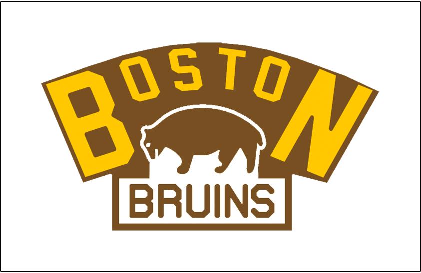 Boston Bruins Logo Jersey Logo (1925/26) - A bear in white below BOSTON arched in yellow, worn on the Boston Bruins jersey in 1925-26 season only SportsLogos.Net