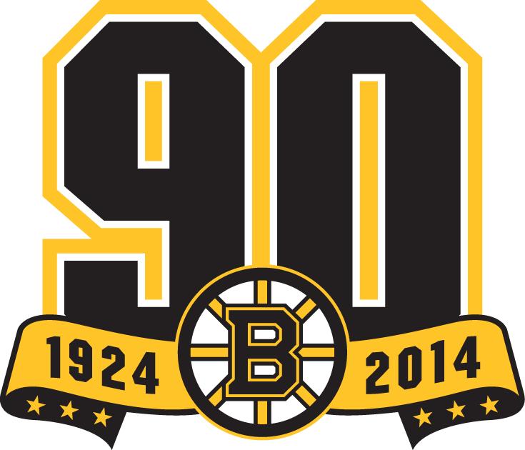 Boston Bruins Logo Anniversary Logo (2013/14) - Boston Bruins 90th Anniversary logo - Was worn as a jersey patch throughout the 2013-14 season. SportsLogos.Net