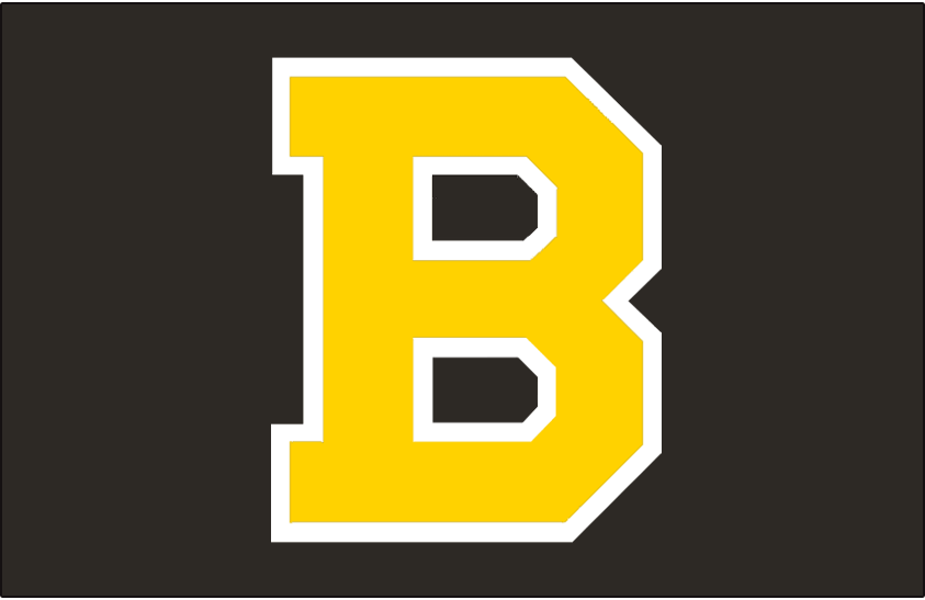 Boston Bruins Logo Jersey Logo (1948/49-1954/55) - Yellow B outlined in white on black. Worn on Boston Bruins road black jersey from 1948-49 through 1951-55 SportsLogos.Net