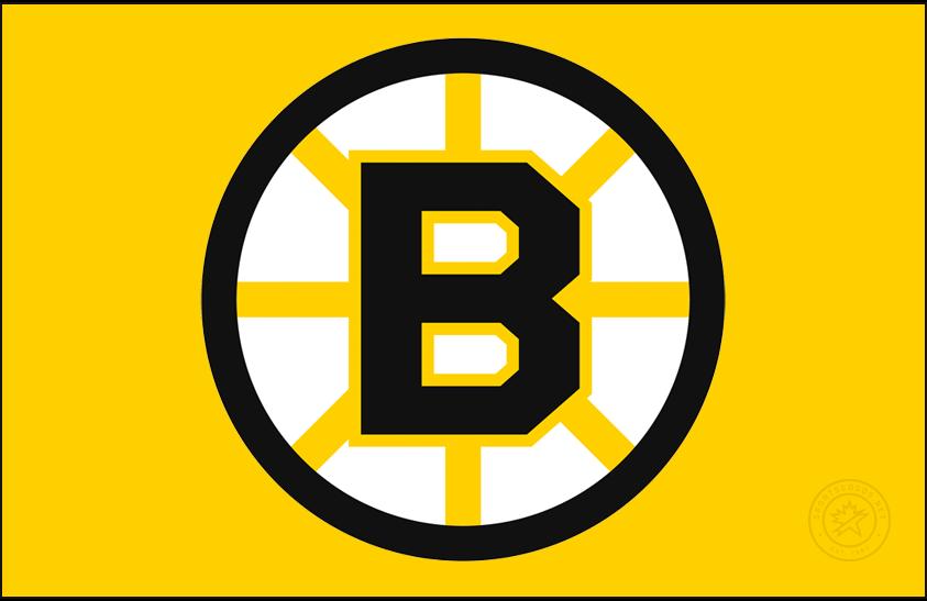 Boston Bruins Logo Jersey Logo (2020/21-Pres) - The Boston Bruins Reverse Retro logo, a throwback to the 1990 season with the original logo of the era, a black B inside a spoked circle, worn on a gold (or yellow) jersey. SportsLogos.Net