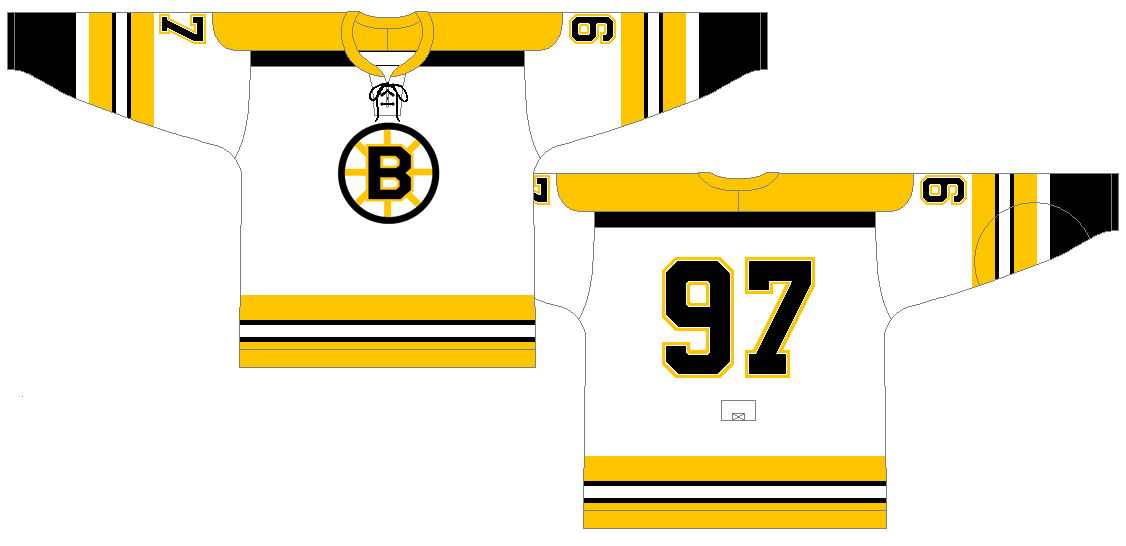 Boston Bruins Uniform Light Uniform (1968/69-1973/74) - Road Jersey (1968/69)<br /> Home Jersey (1969/70-1973/74)<br /> <br /> The season after the debut of these sweaters, they tweaked the sleeves slightly by adding a white space between the black cuffs and the bottom gold stripe.  SportsLogos.Net