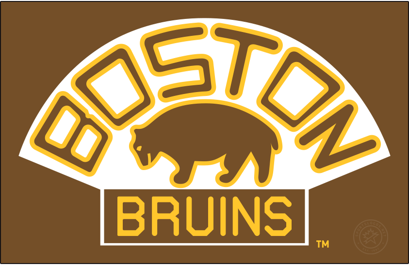 Boston Bruins Logo Primary Dark Logo (1926/27-1931/32) - A slightly updated version of their original logo, the Boston Bruins adopted their second logo in team history, shown here on brown, for the 1926-27 season. Like its predecessor the logo showed a brown bear below BOSTON arched above and BRUINS written below but did so with a new font. The Bruins used this logo until 1932, during which they won the team's first Stanley Cup in 1929. SportsLogos.Net